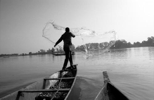 Fischer Netz auswerfend-Niger nahe Mopti-Dezember 2008